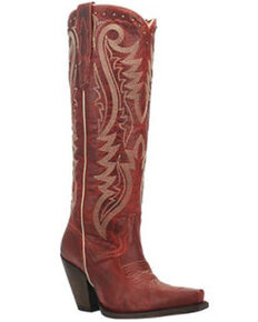 Dan Post Women's Red Marika Fancy Studded Leather Fashion Tall Boot - Snip Toe, Red, hi-res