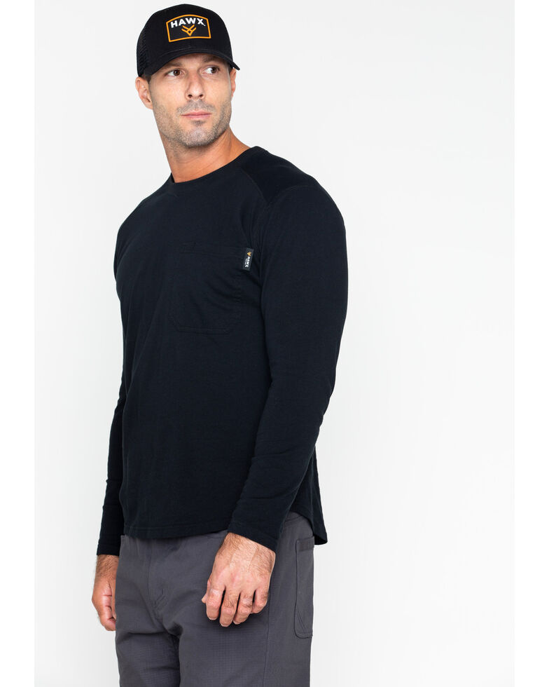Hawx Men's Solid Pocket Crew Long Sleeve Work T-Shirt , Black, hi-res