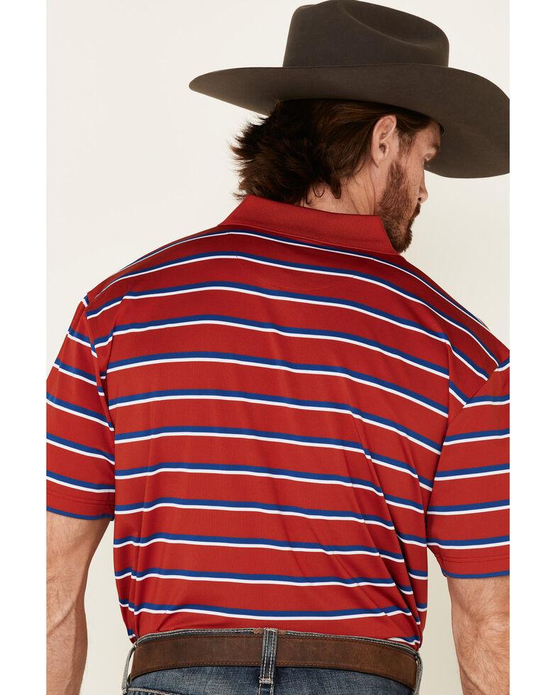 Wrangler 20X Men's Blue Striped Short Sleeve Performance Polo Shirt , Red, hi-res