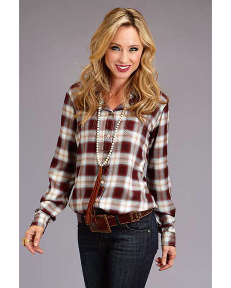 Stetson Women's Brown Plaid Long Sleeve Western Shirt, Brown, hi-res
