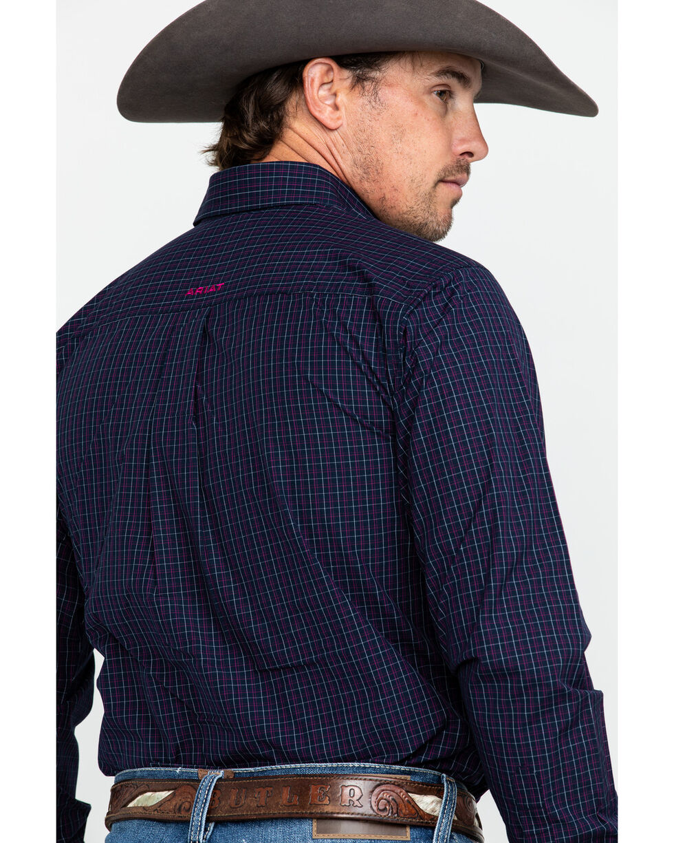 Ariat Men's Sheffield Fitted Check Plaid Long Sleeve Western Shirt , Navy, hi-res