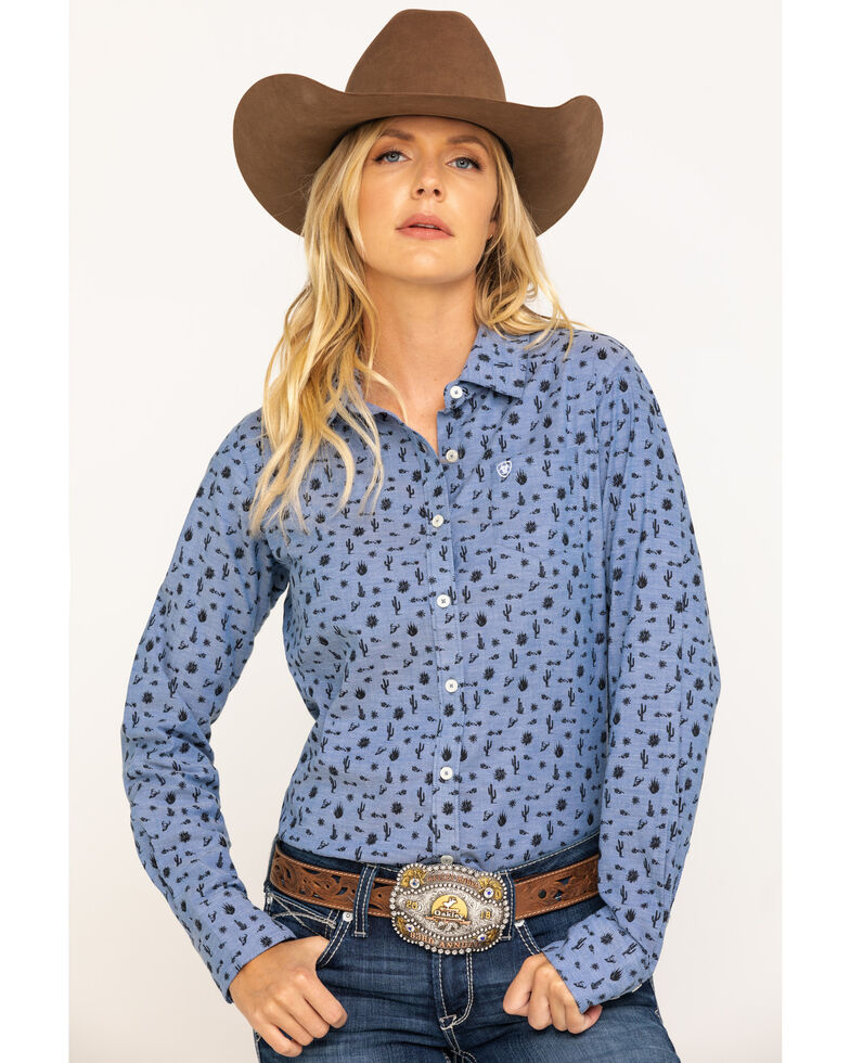 Ariat Women's Desert Spring Kirby Stretch Long Sleeve Western Shirt , Blue, hi-res