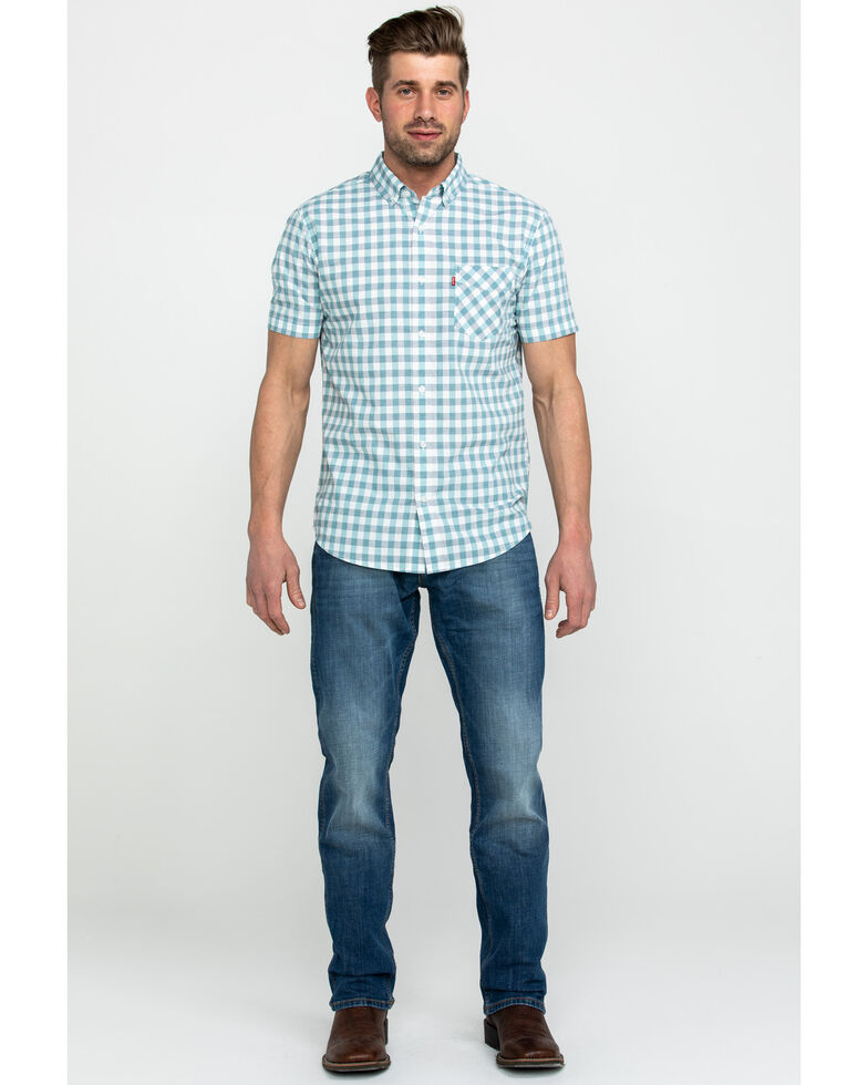 Levis Men's Chester Poplin Check Plaid Short Sleeve Western Shirt , White, hi-res