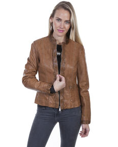 Leatherwear By Scully Women's Soft Lamb Lace Trim Jacket , Cognac, hi-res