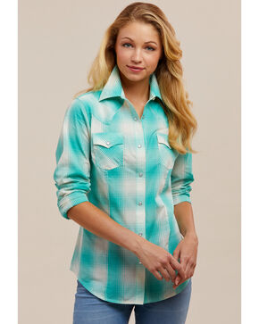 Wrangler Women's Aqua Plaid Snap Long Sleeve Western Shirt, Aqua, hi-res
