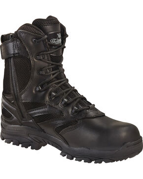 "Thorogood Men's Deuce 8"" Waterproof Puncture Resistant Side Zip Work Boots - Composite Toe, Black, hi-res"