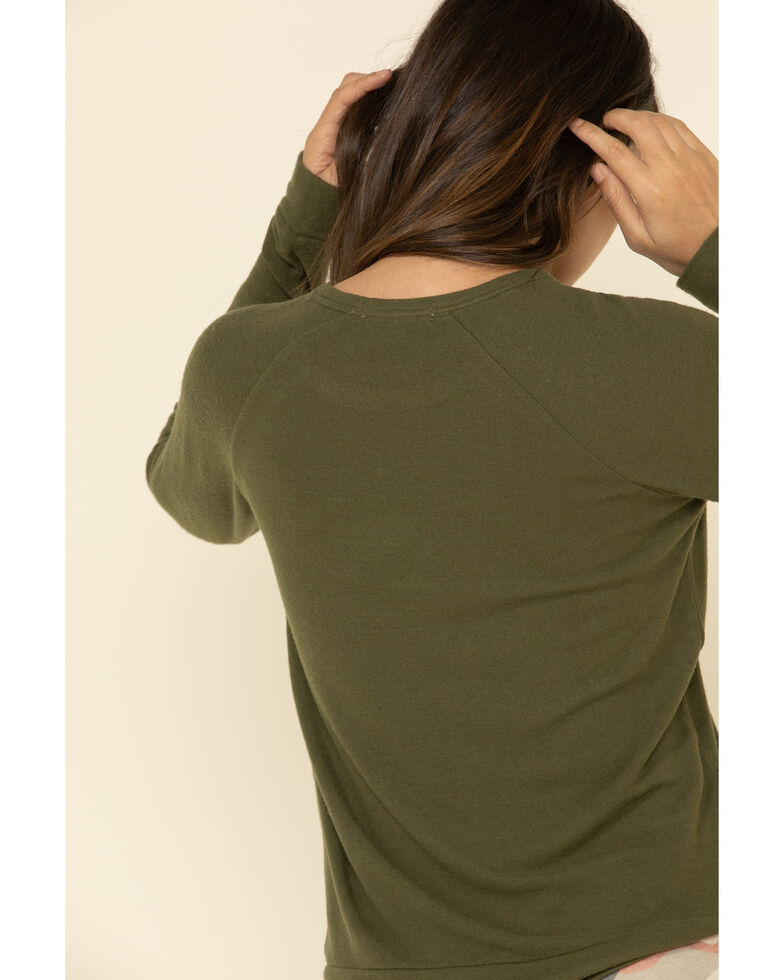 PJ Salvage Women's Olive Happy Glamper Graphic Long Sleeve Top , Olive, hi-res