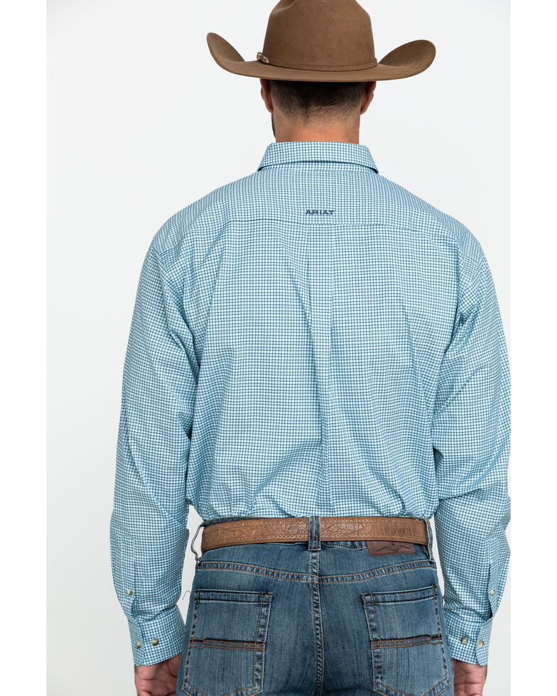 Ariat Men's Novato Small Plaid Long Sleeve Western Shirt - Tall , Turquoise, hi-res