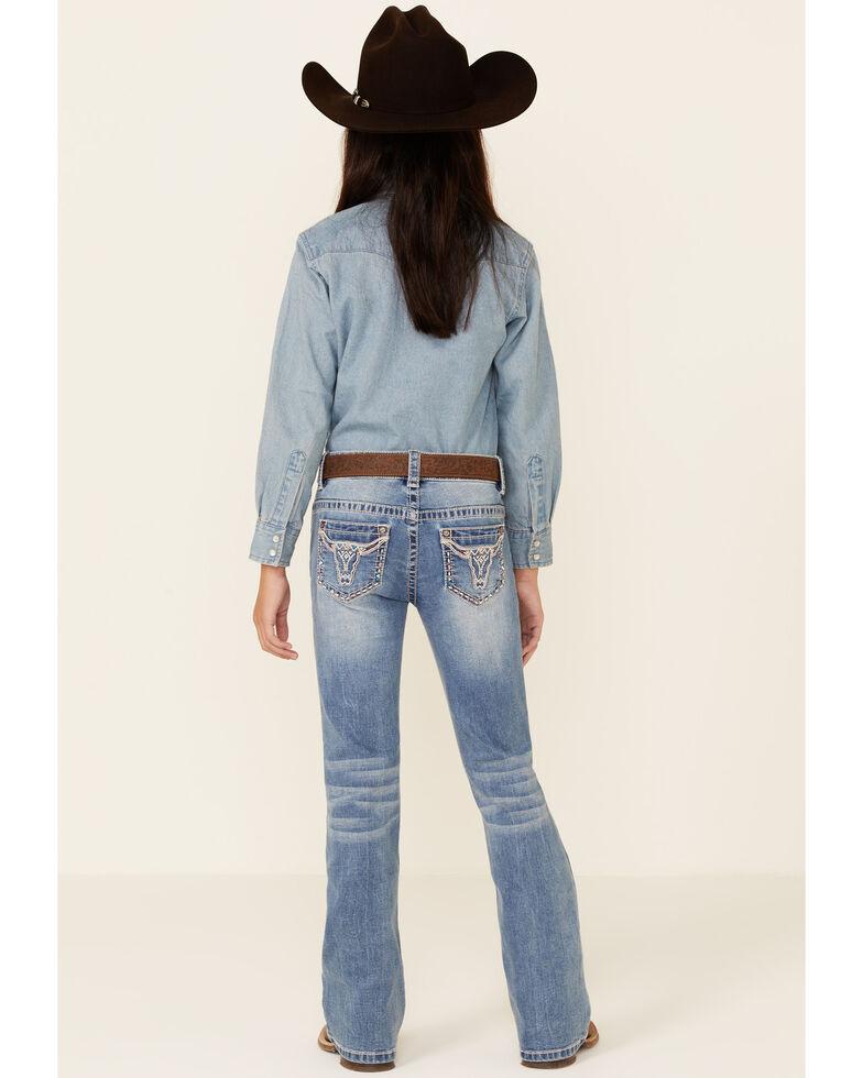 Shyanne Girls' Medium Wash Longhorn Pocket Regular Bootcut Jeans - Big, Blue, hi-res