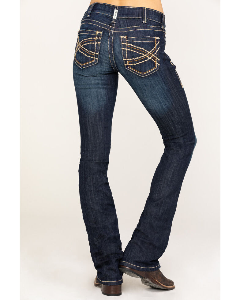 Ariat Women's R.E.A.L. Boot Cut Vine Jeans, Blue, hi-res