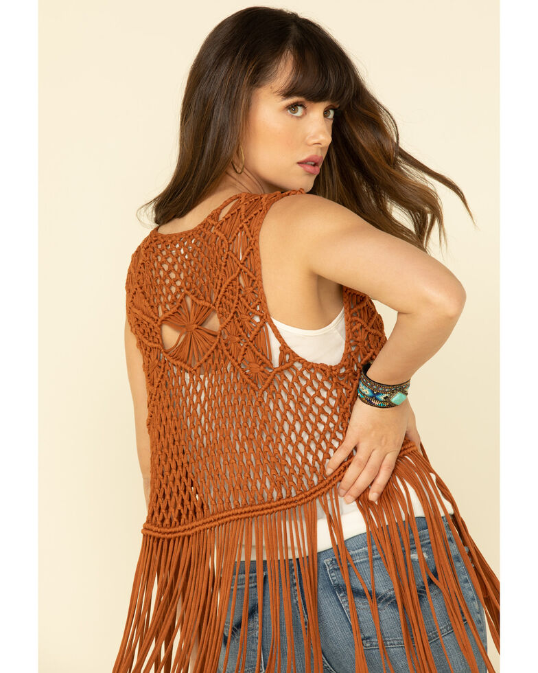 Idyllwind Women's Country Macrame Vest, Brown, hi-res