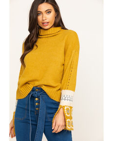 En Creme Women's Mustard Turtleneck Patchwork Sweater , Dark Yellow, hi-res