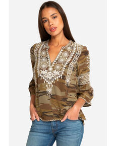 Johnny Was Women's Camo Ciro Flare Sleeve Blouse , Camouflage, hi-res