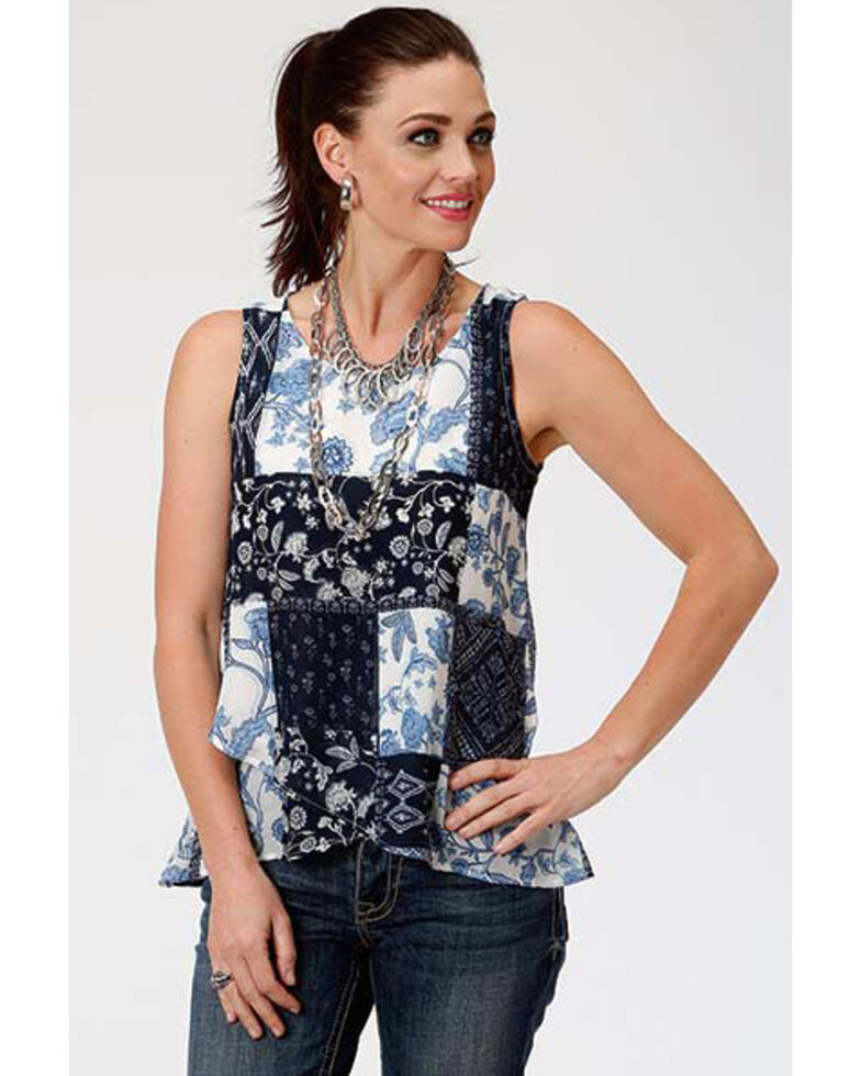Studio West Women's Floral Patchwork Tank Top, Blue, hi-res