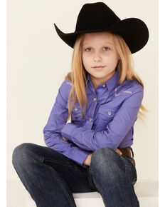 Wrangler Girls' Purple Stitch Yoke Long Sleeve Snap Western Shirt , Purple, hi-res