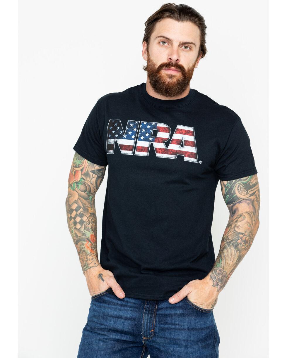 NRA Men's USA Flag Filled Graphic Logo T-Shirt , Black, hi-res