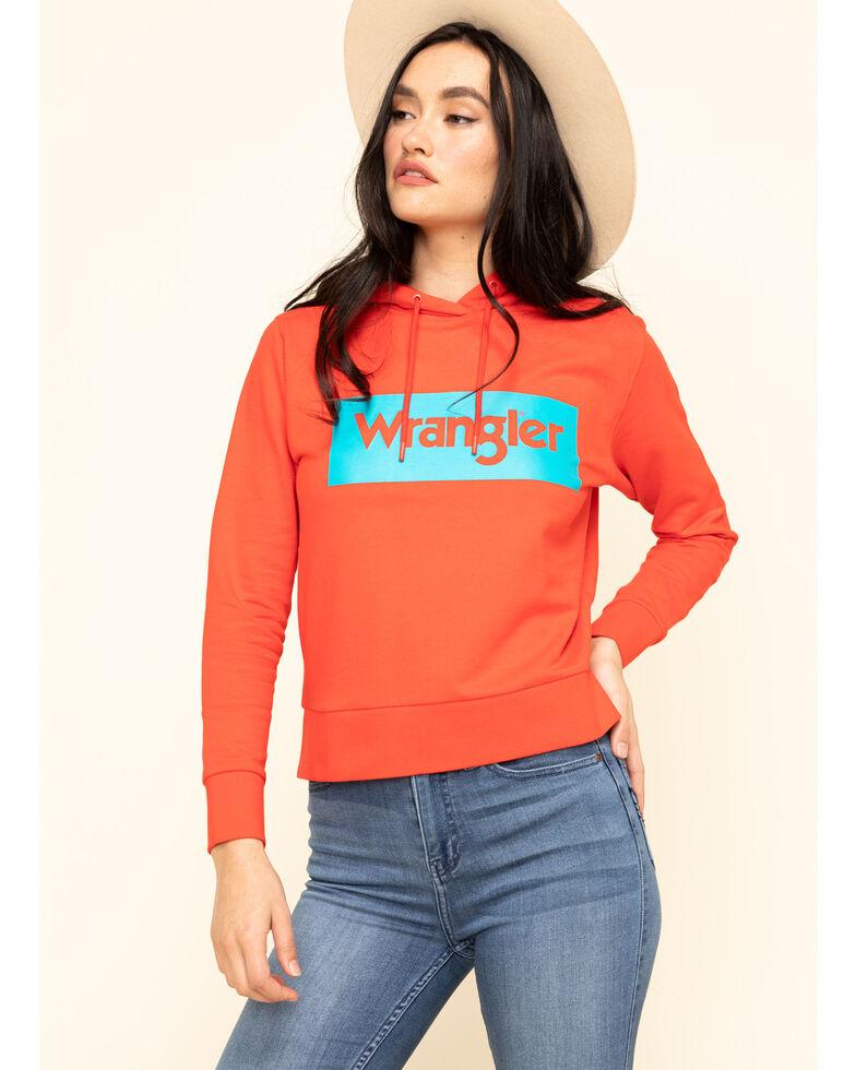 Wrangler Modern Women's Red High Rib Retro Sweatshirt Logo Hoodie, Red, hi-res