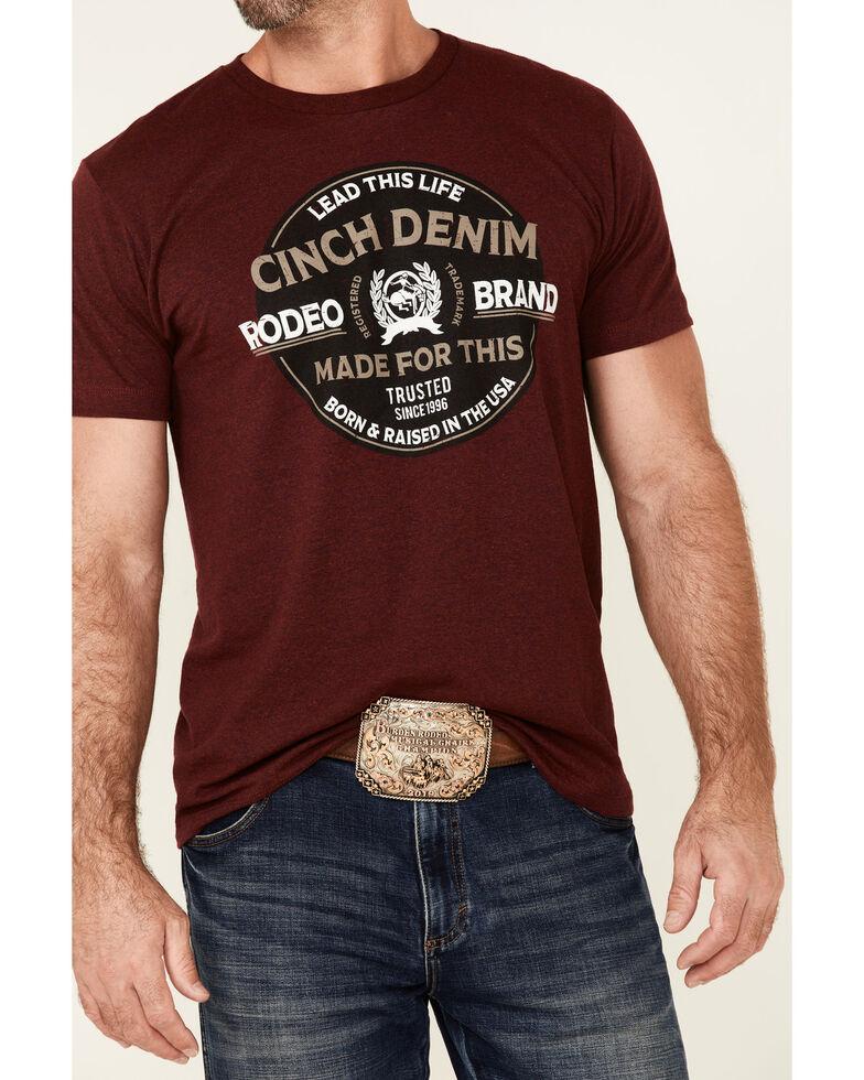 Cinch Men's Burgundy Vintage Circle Logo Graphic Short Sleeve T-Shirt , Burgundy, hi-res