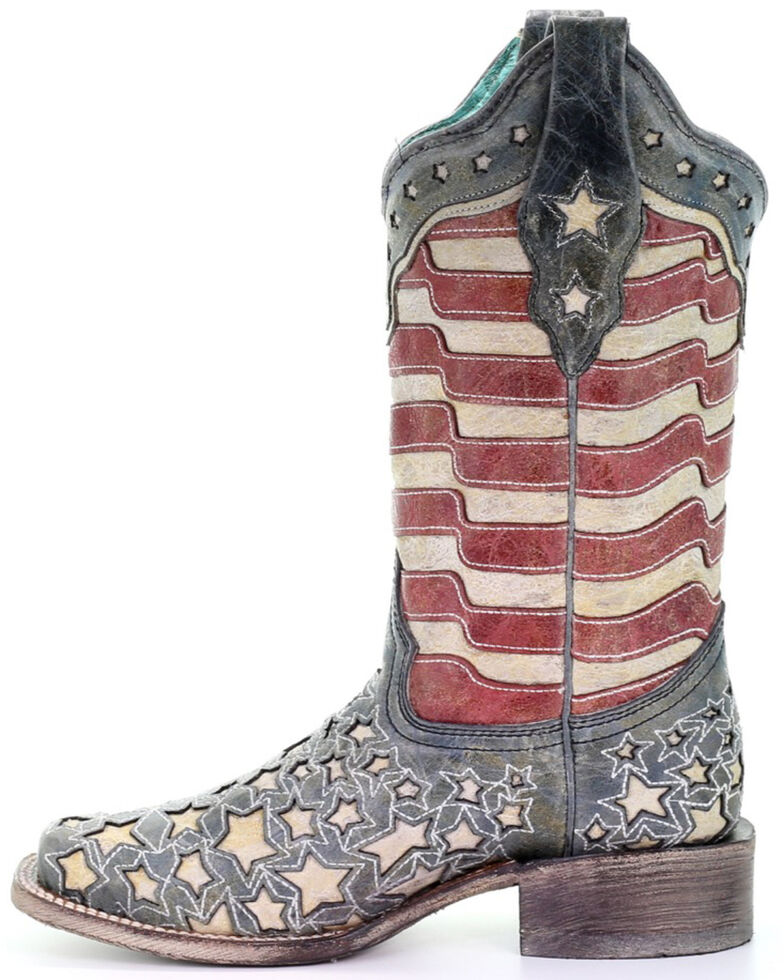 Corral Women's Blue Jeans Stars & Stripes Western Boots - Square Toe, Blue, hi-res