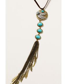 Shyanne Women's Golden Dreamcatcher Feather Tassel Necklace, Gold, hi-res