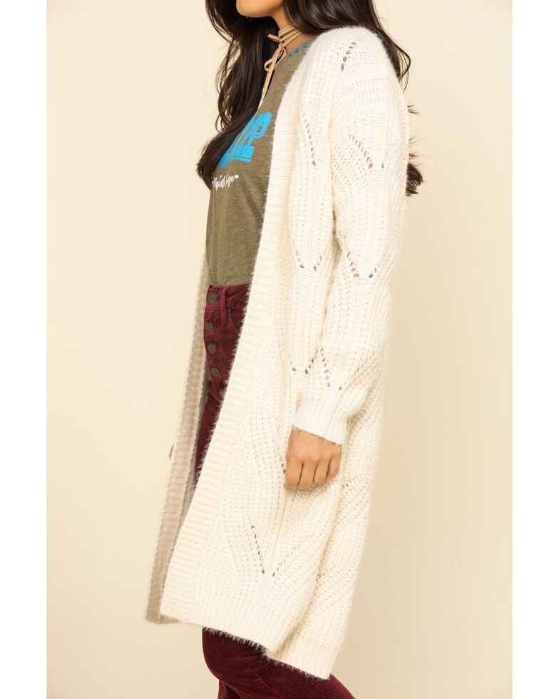 Miss Me Women's Ivory Pointelle Knit Sweater Cardigan, Ivory, hi-res