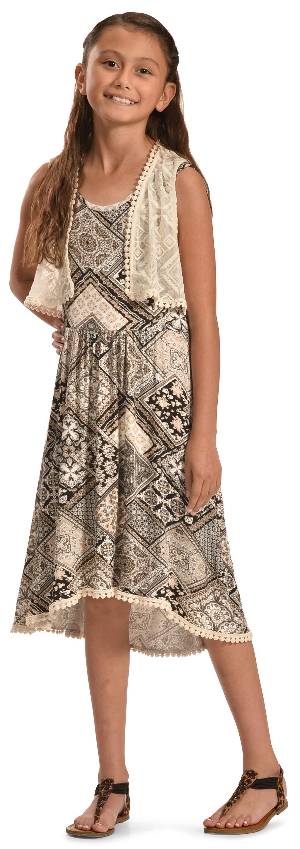 Jody of California Girls' Black Aztec Print Lace Dress , Black, hi-res