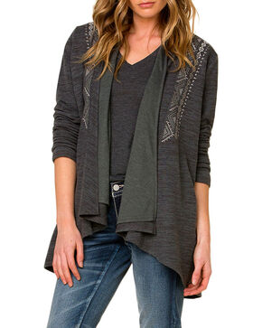 Miss Me Women's Aztec Bordered Open Cardigan, Grey, hi-res
