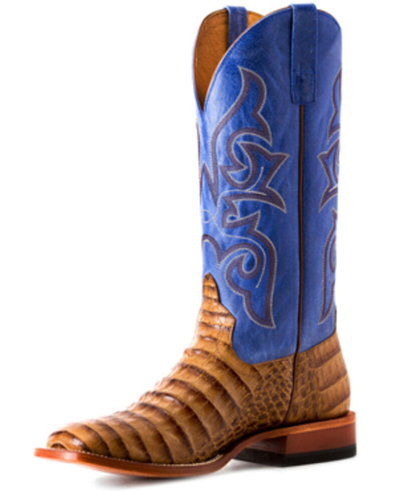 Horse Power Men's Toasted Caiman Print Western Boots - Square Toe, Tan, hi-res