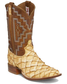 Tony Lama Men's Leviathan Saddle Western Boots - Round Toe, Tan, hi-res