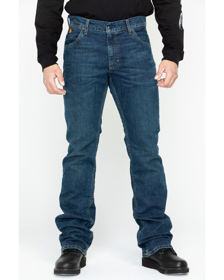 Wrangler Men's FR Advanced Comfort Slim Bootcut Work Jeans - Long, Blue, hi-res