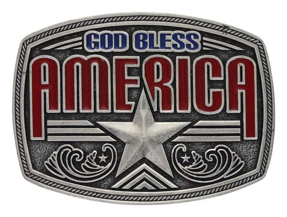 Montana Silversmiths Men's Antiqued God Bless America Attitude Buckle, Silver, hi-res