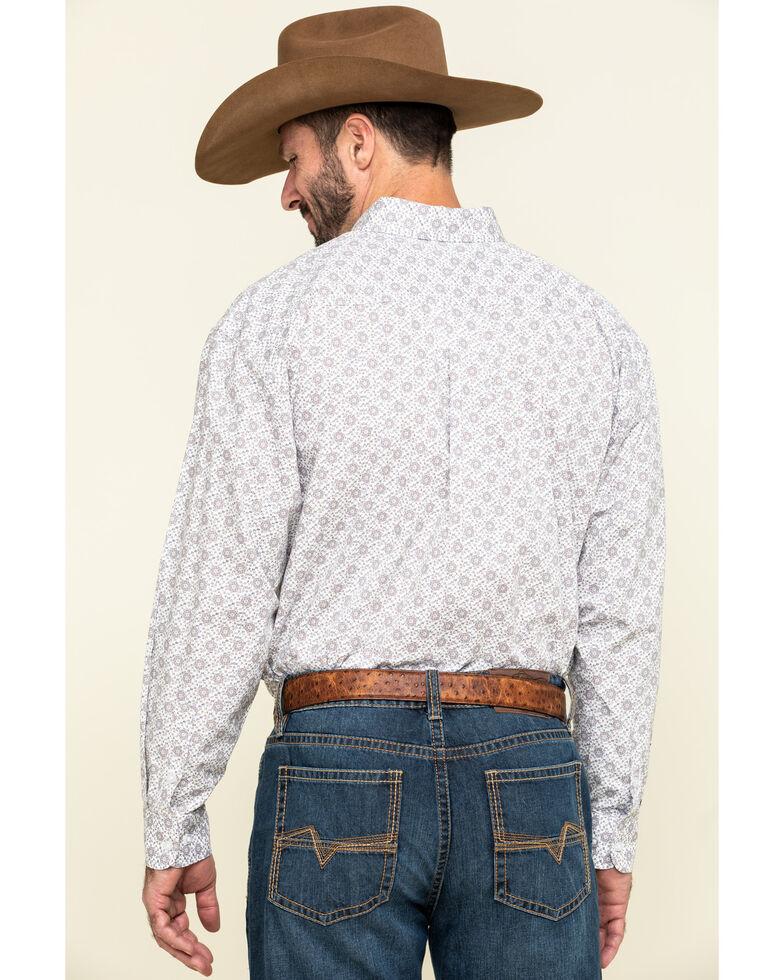 Panhandle Select Men's White Poplin Geo Print Long Sleeve Western Shirt , Camel, hi-res