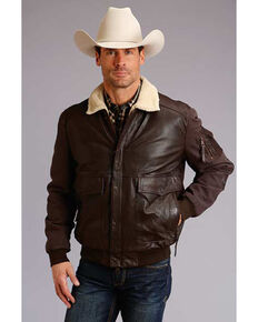 Stetson Men's Dark Brown Novelty Solid Leather Canvas Sleeve Jacket , Brown, hi-res