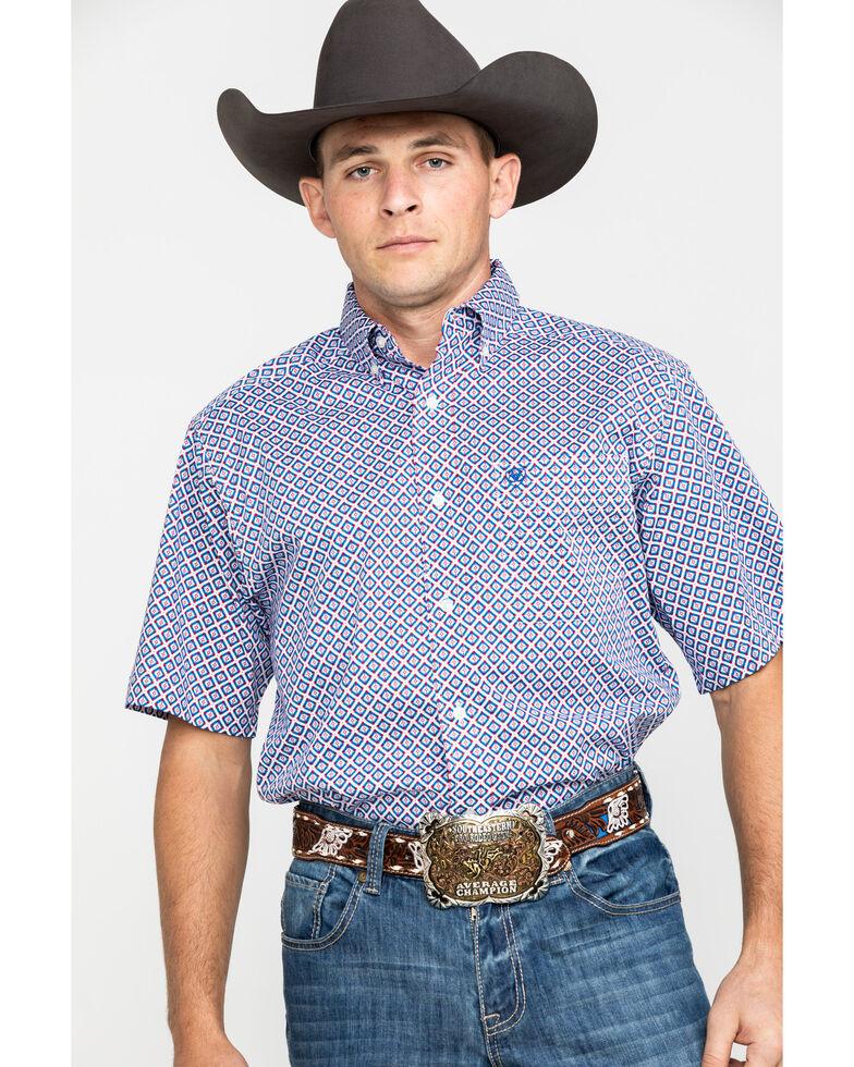 Ariat Men's Phoenix Stretch Geo Print Short Sleeve Western Shirt - Big & Tall , , hi-res