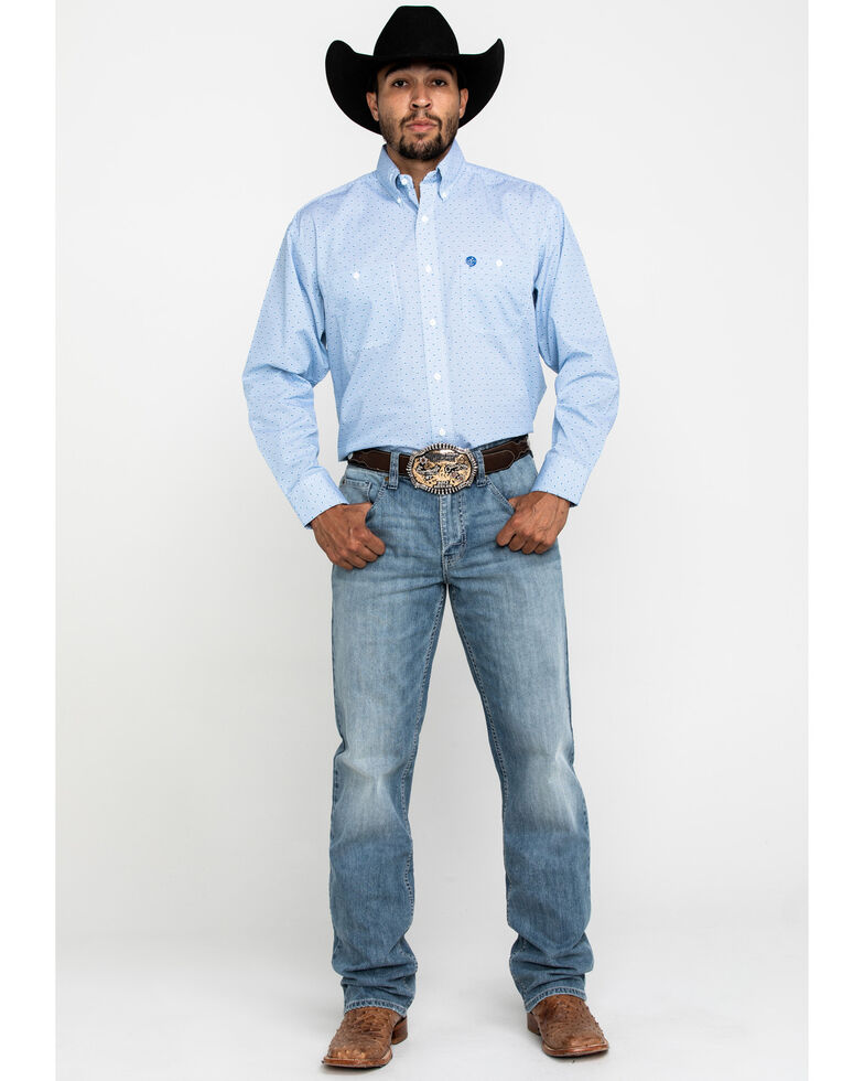 George Strait by Wrangler Men's Blue Small Dot Geo Print Long Sleeve Shirt, Blue, hi-res