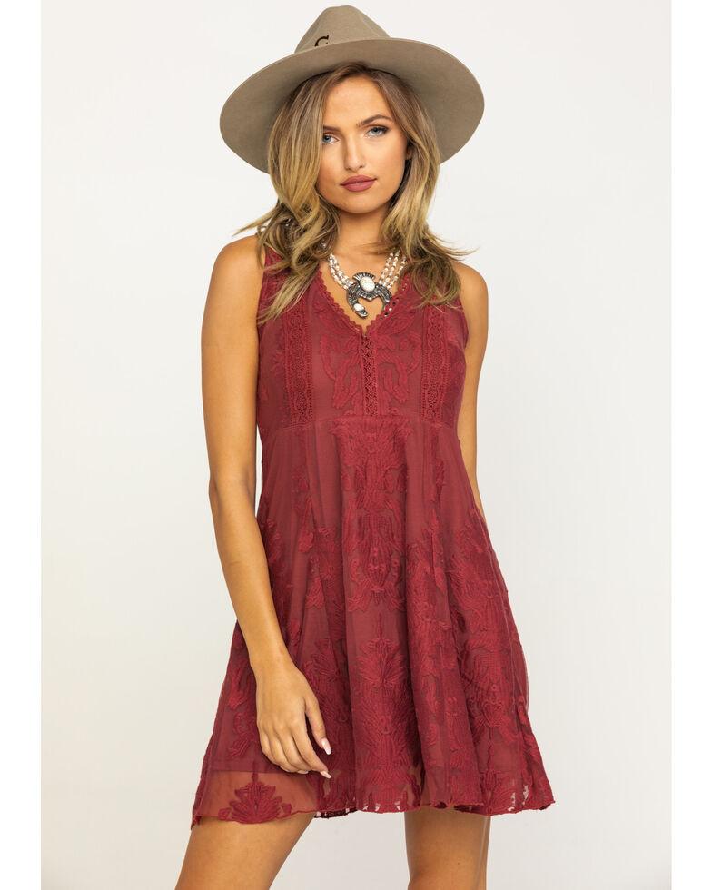 Shyanne Women's Rust Lace Sleeveless Dress, Rust Copper, hi-res