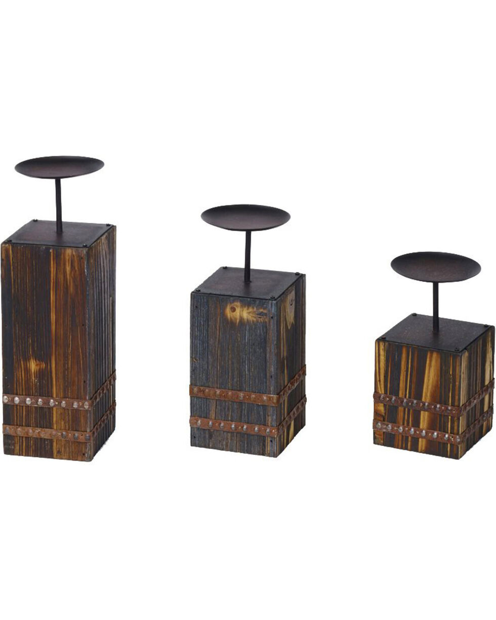 HiEnd Accents Wood and Metal Candle Holders - Set of 3, Brown, hi-res