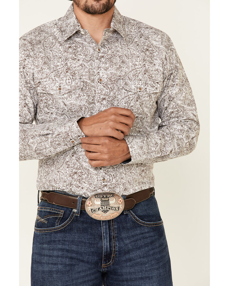Wrangler Retro Premium Men's Brown Paisley Print Long Sleeve Western Shirt - Tall , Brown, hi-res