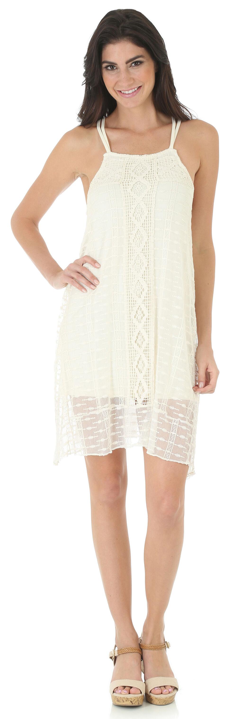 Wrangler Women's Cream Sleeveless Crochet Dress, Cream, hi-res