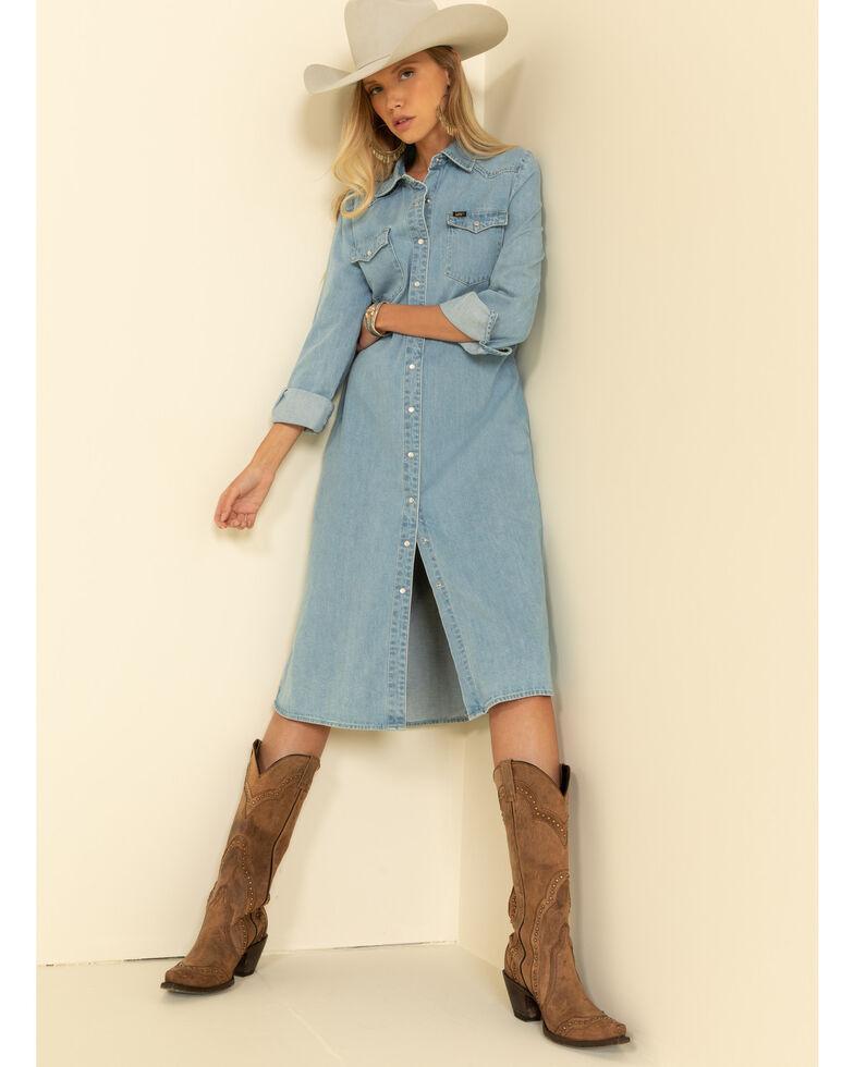 Lee Women's Super Bleach Button Front Western Dress, Blue, hi-res