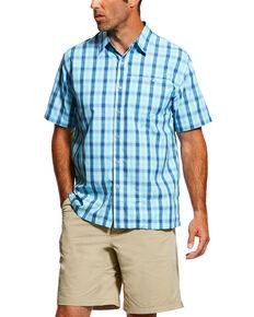 Ariat Men's Aqua Plaid Tek Solitude Short Sleeve Shirt, Blue, hi-res
