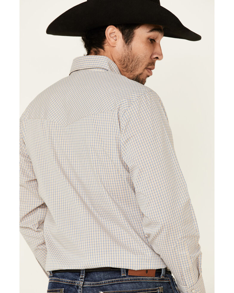 Ely Walker Men's Assorted Small Check Plaid Snap Long Sleeve Western Shirt - Big, Beige/khaki, hi-res