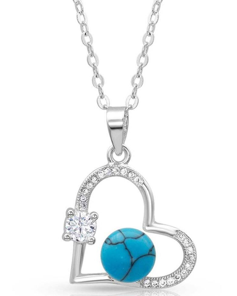 Montana Silversmiths Women's Open Heart Turquoise Pearl Necklace, Silver, hi-res