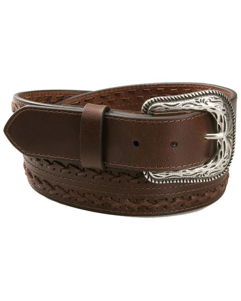AndWest Men's Brown X Lace Belt, Brown, hi-res