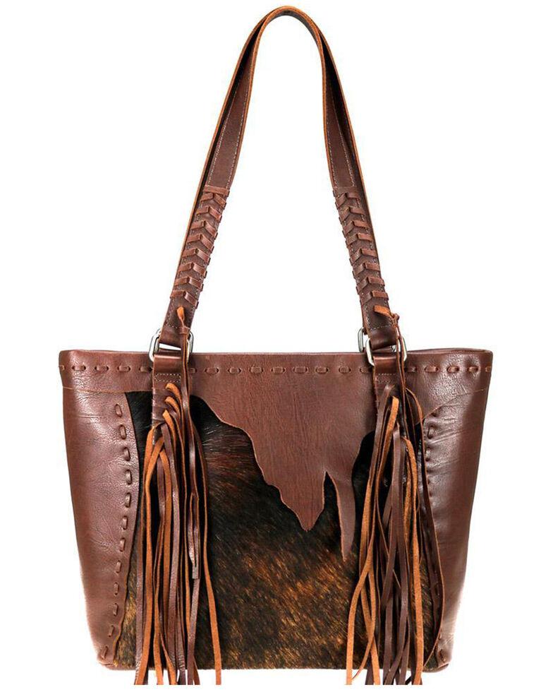 Montana West Women's Hair-On Tote Bag, Coffee, hi-res