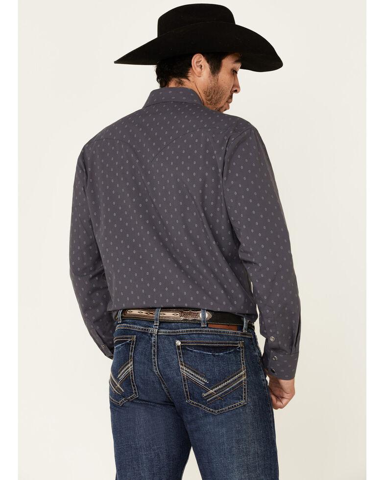 Rock & Roll Denim Men's Vintage 46 Charcoal Geo Print Long Sleeve Snap Western Shirt, Charcoal, hi-res
