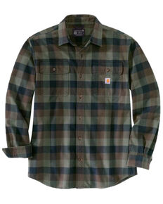 Carhartt Men's Coffee Plaid Heavyweight Long Sleeve Work Flannel Shirt Jacket, Brown, hi-res