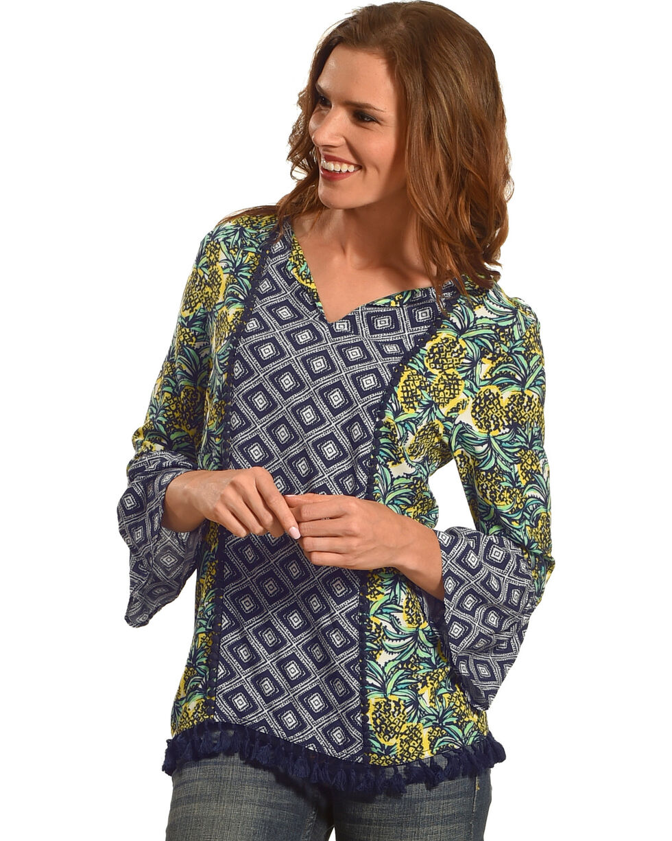 Ruby Rd. Women's Pineapple Punch Border Print with Tassels Top, Multi, hi-res