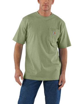 Carhartt Men's Green Workwear Pocket Short Sleeve Work T-Shirt - Tall , Green, hi-res
