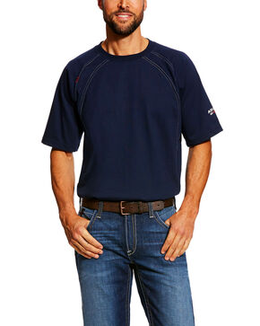 Ariat Men's Navy FR Crew Short Sleeve Work T-Shirt , Navy, hi-res